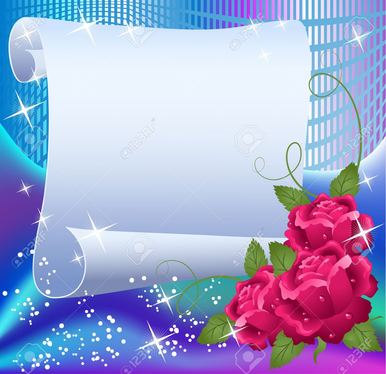 Magic background with paper, roses and a place for text - 13781924