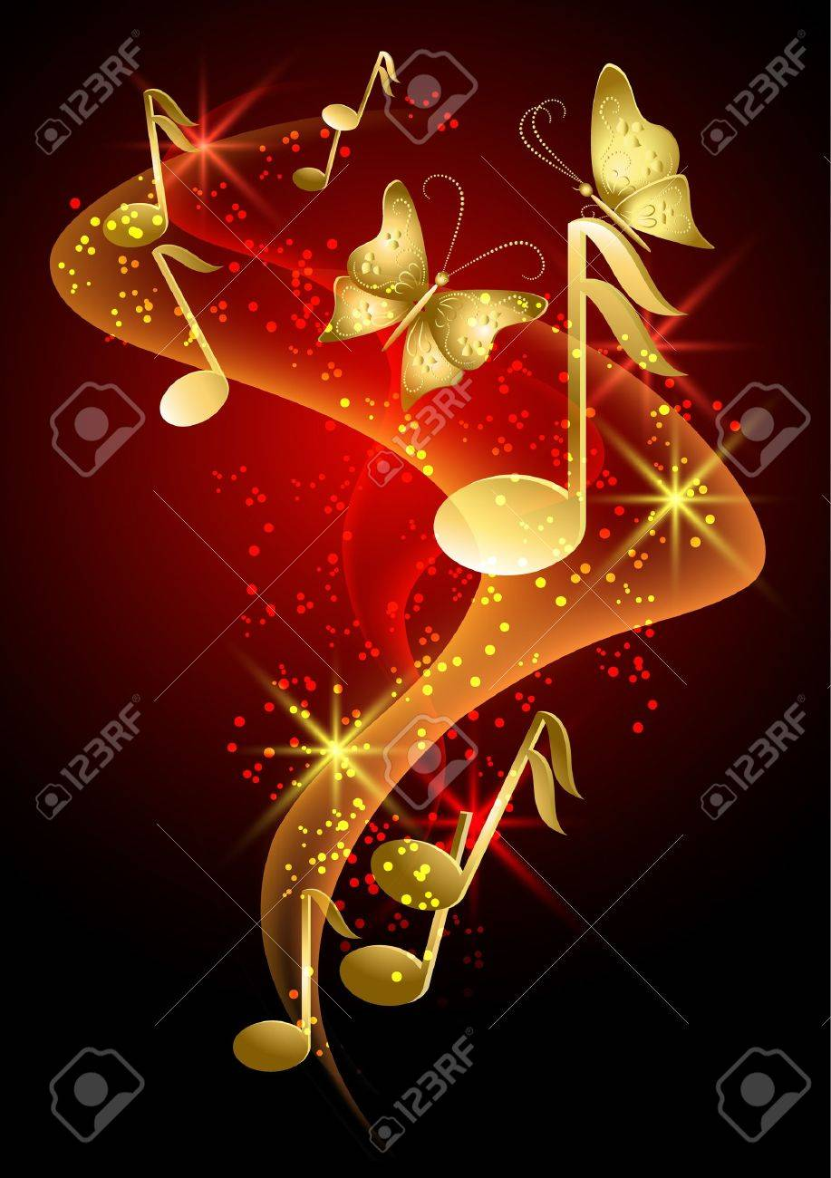 Glowing background with golden musical notes, smoke, stars and butterfly - 13781933