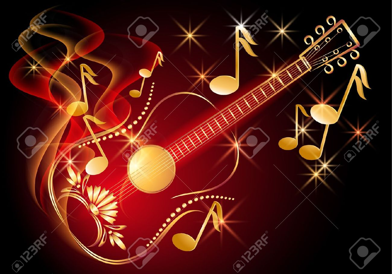Guitar in smoke and musical notes - 13781928