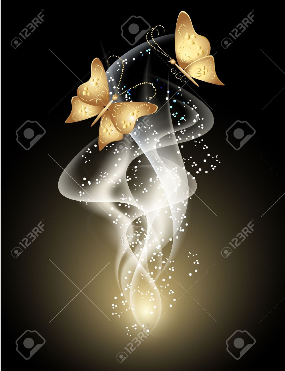 Glowing background with smoke, stars and butterfly - 13781930
