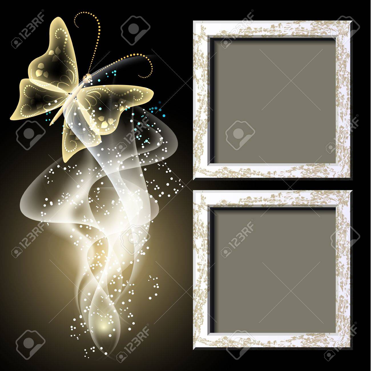 Background with grungy photo frame, butterfly and smoke for inserting text and photo - 13781937