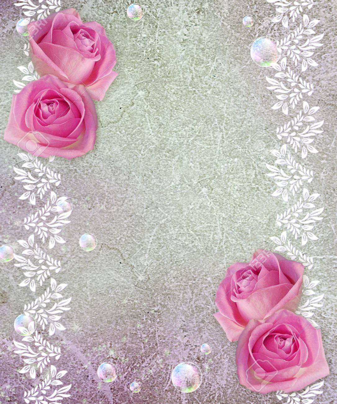 Old grunge background with roses - 14123042
