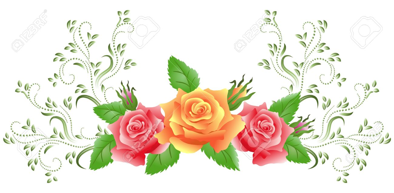Pink And Yellow Roses With Green Floral Ornament Royalty Free