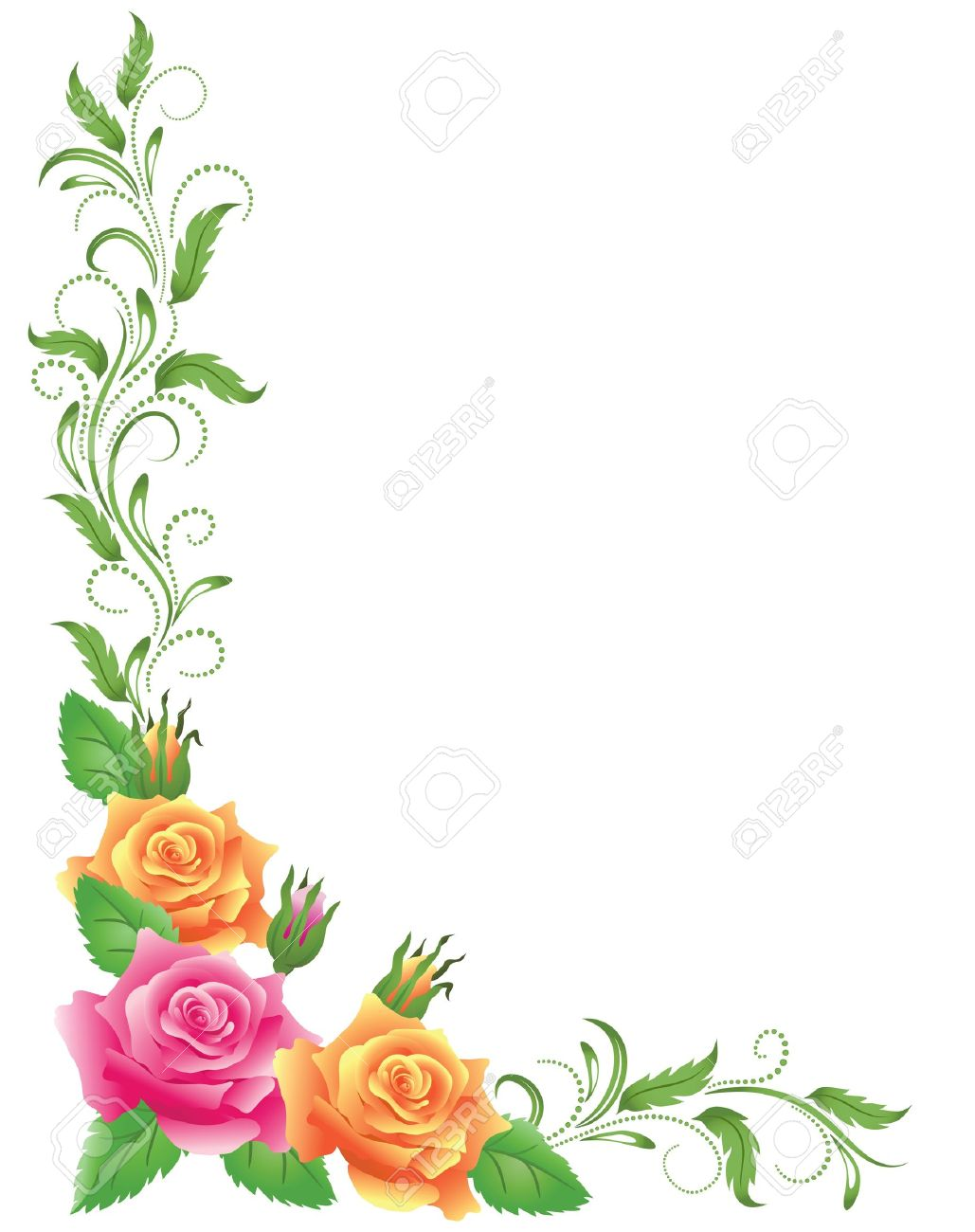 Pink and yellow roses with green floral ornament - 14215726