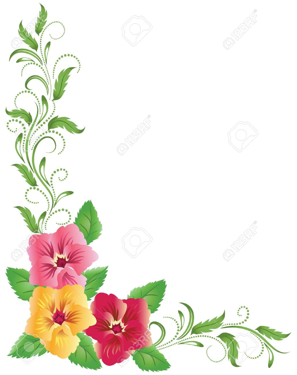 Pink and yellow pansies with green floral ornament - 14311433