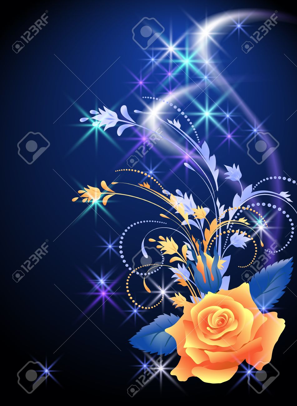 Glowing background with rose and stars - 14404885