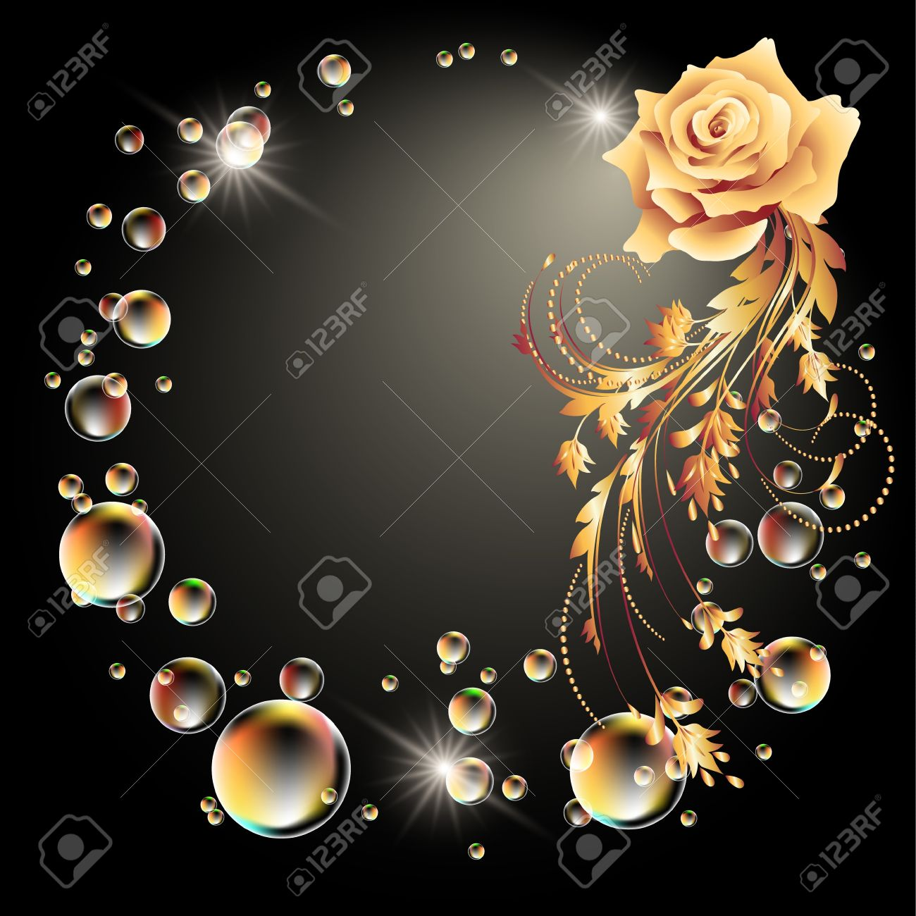 Glowing background with rose, star and bubbles - 14567988