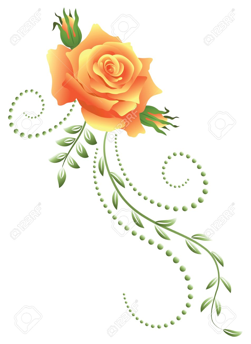 Yellow rose with green floral ornament - 14572053