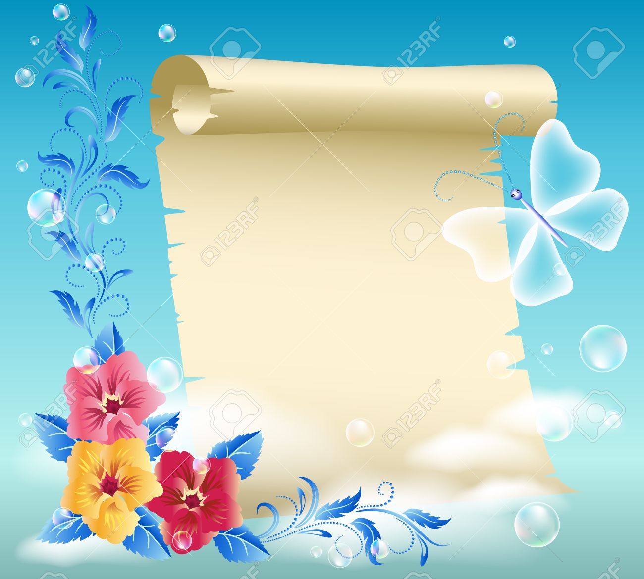 Parchment and flowers in the sky Stock Vector - 14567984