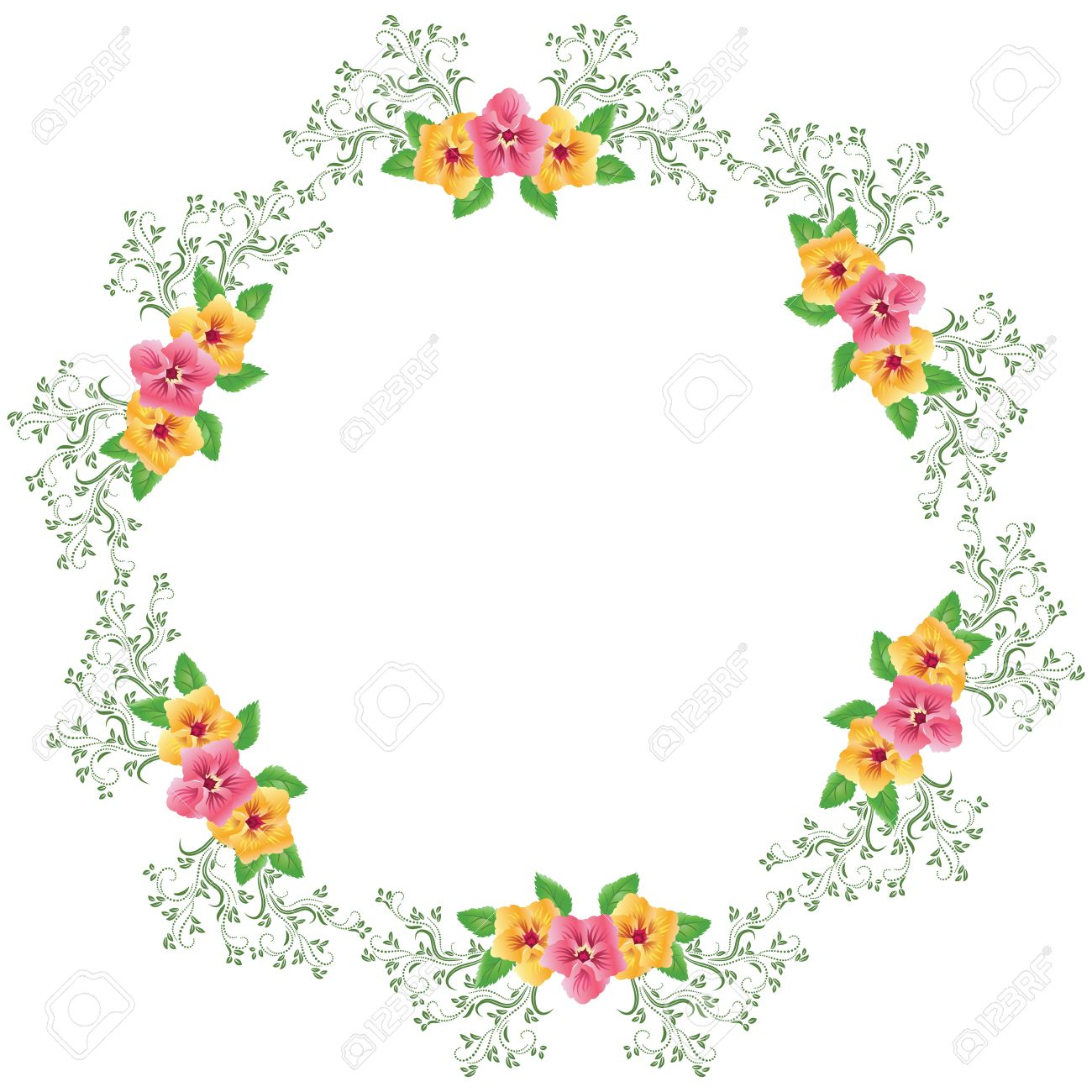 Vector round frame with pink flowers on white background in pastel - Round Frame Flowers Round Frame Illustration