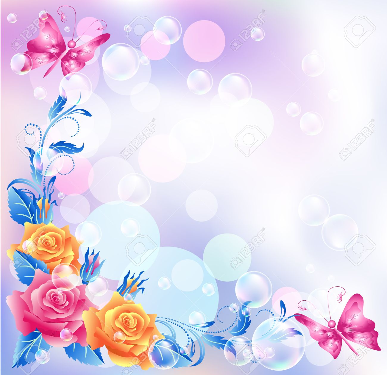 Floral background with boke - 14567995