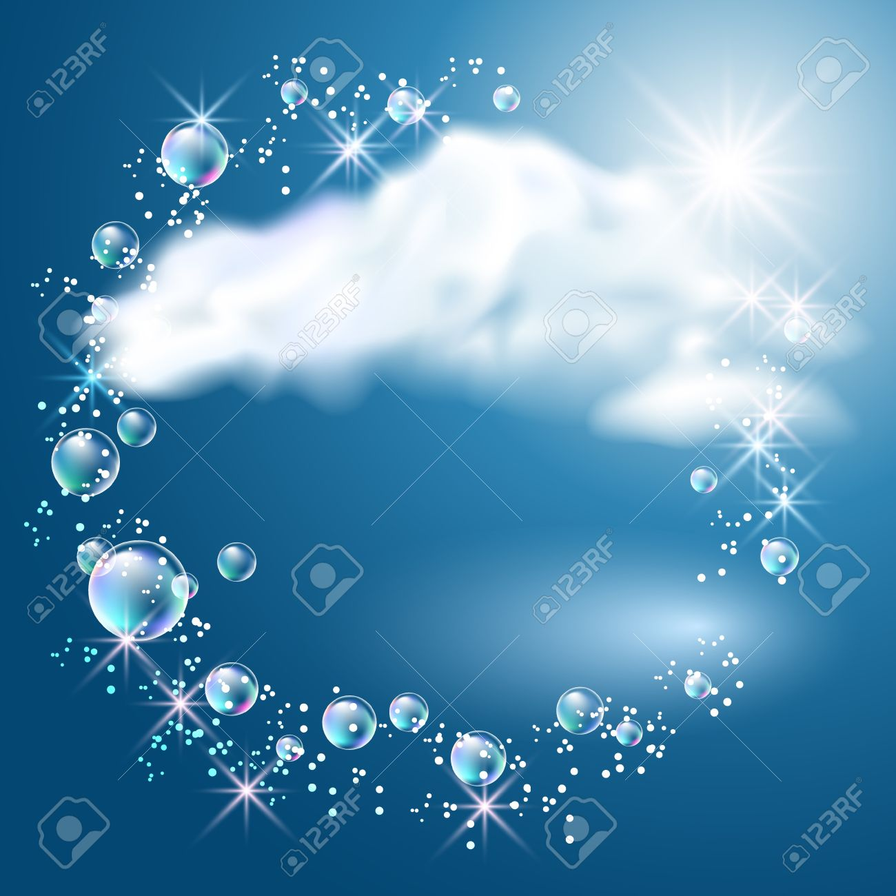 Sky, clouds, bubbles and sunshine - 14567996