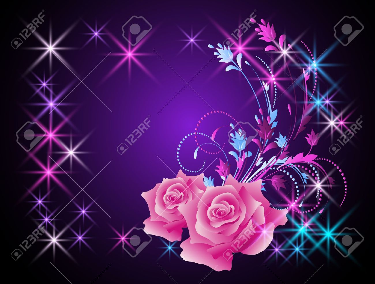 Glowing background with roses and stars Stock Vector - 14676310