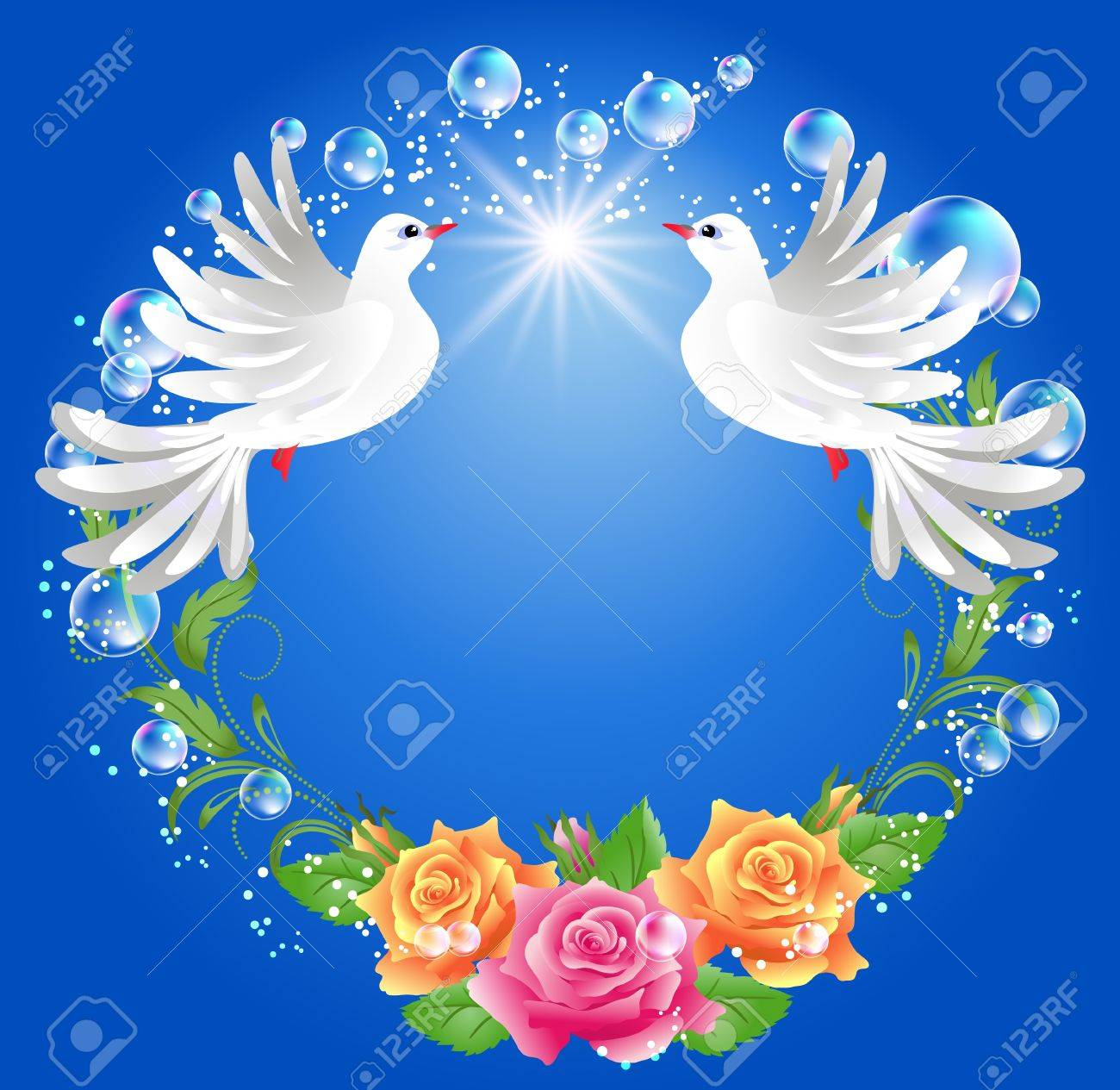 Two doves on blue background with roses - 14676309