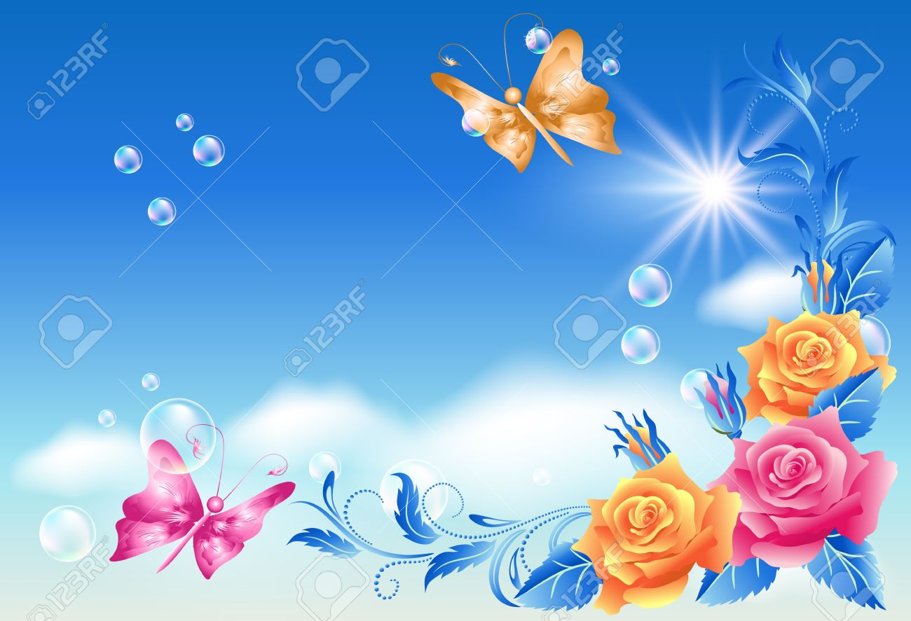 Roses and butterfly in the blue sky - 14769250