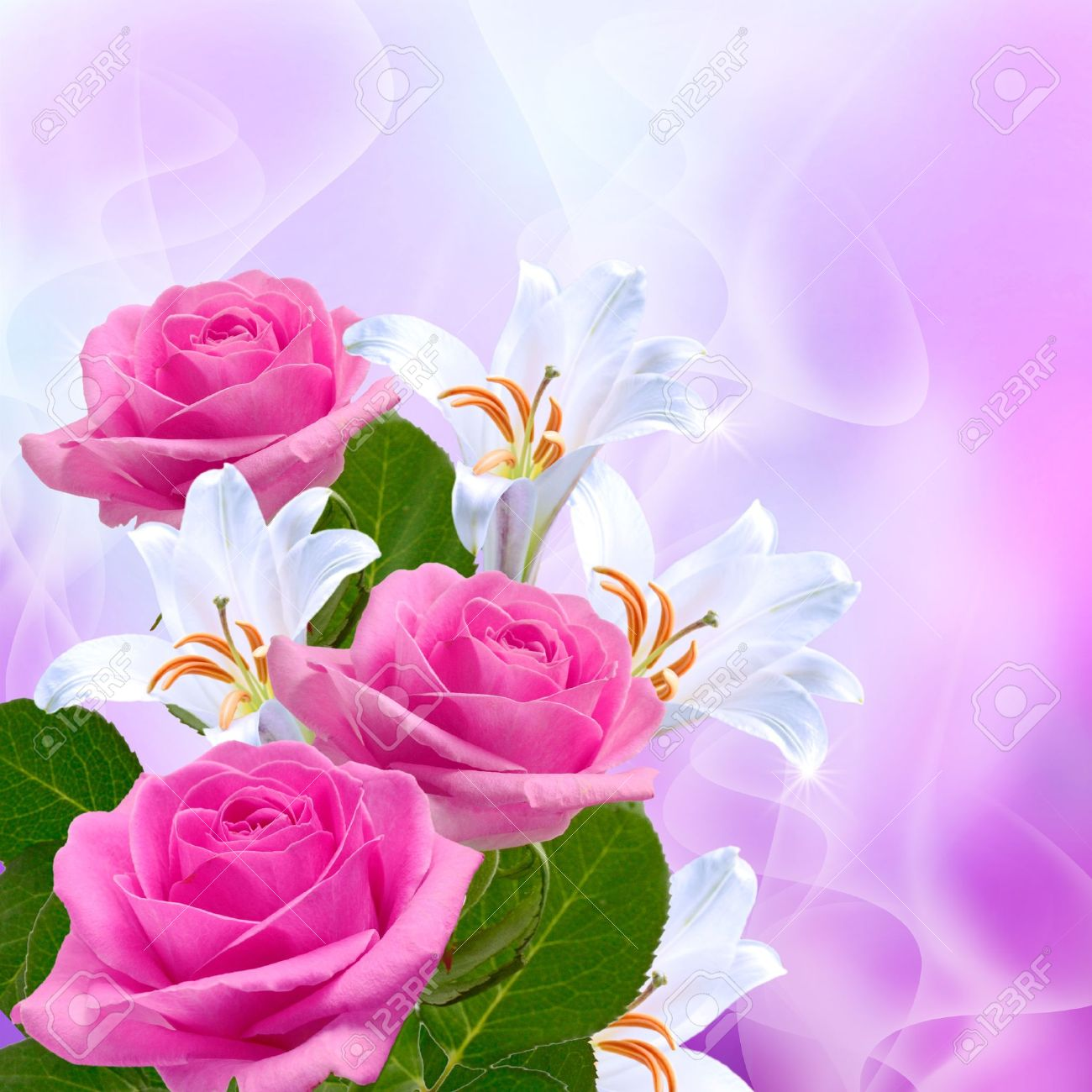 Pink roses and white lilies - 14937701