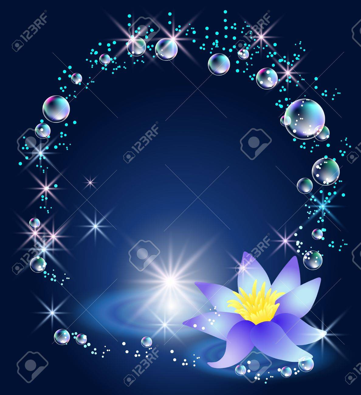 Magic lily, stars and bubbles Stock Vector - 15153976