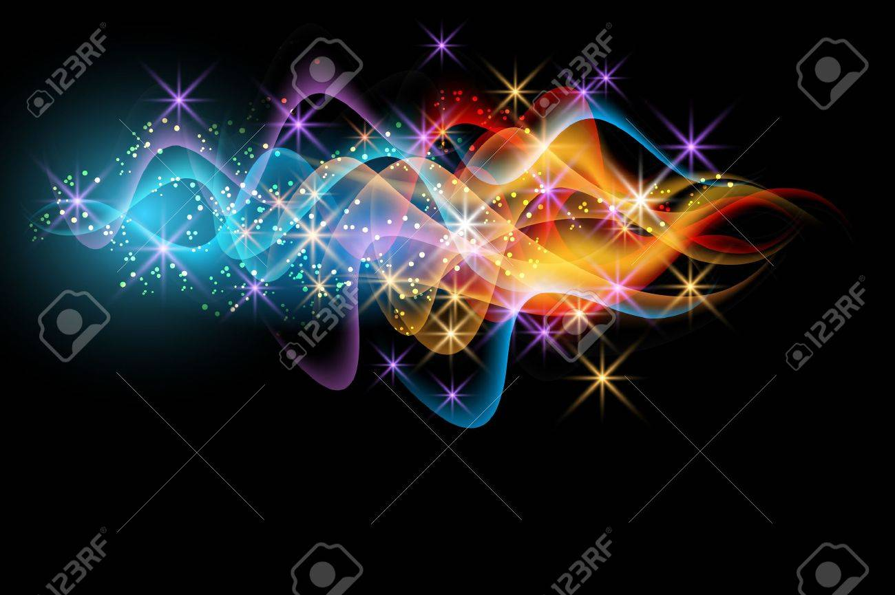 Glowing background with smoke and stars - 15153981