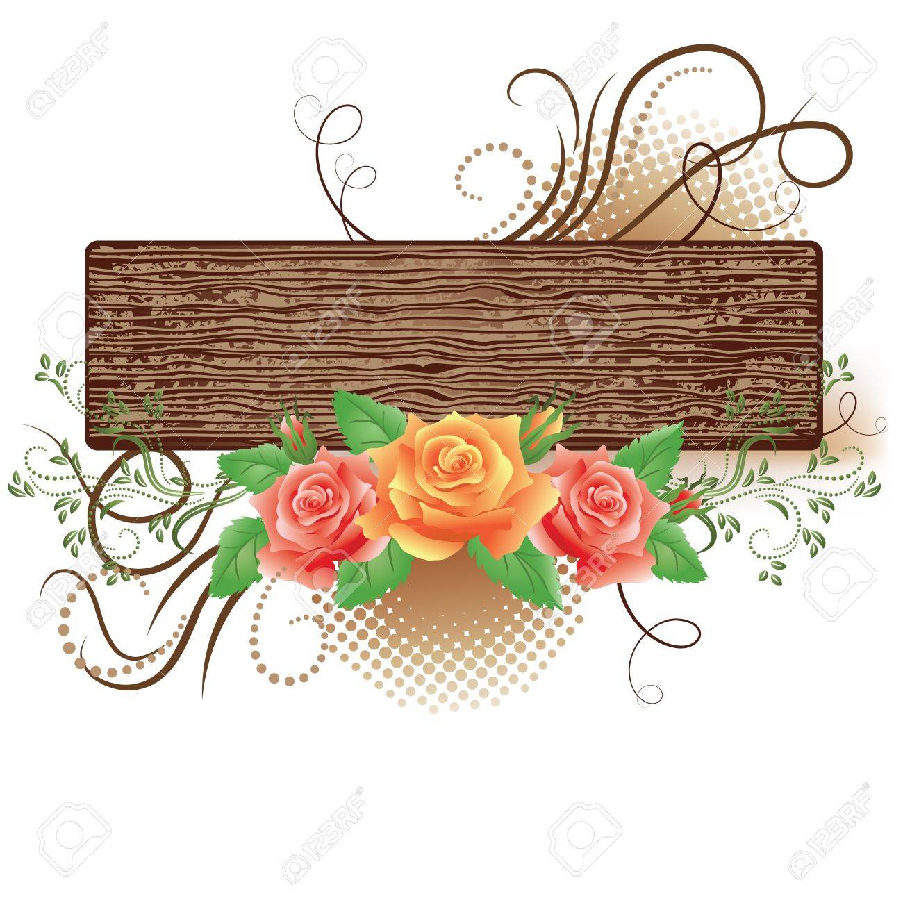 Abstract wooden signboard with decorative roses Stock Vector - 15386883