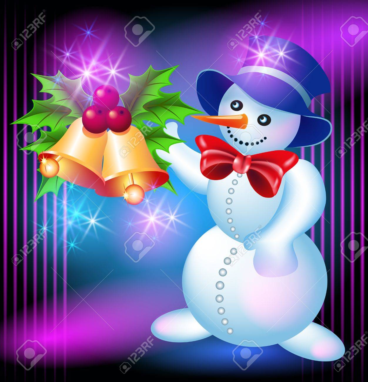 Christmas greetings card with Snowman and bells Stock Vector - 15983624