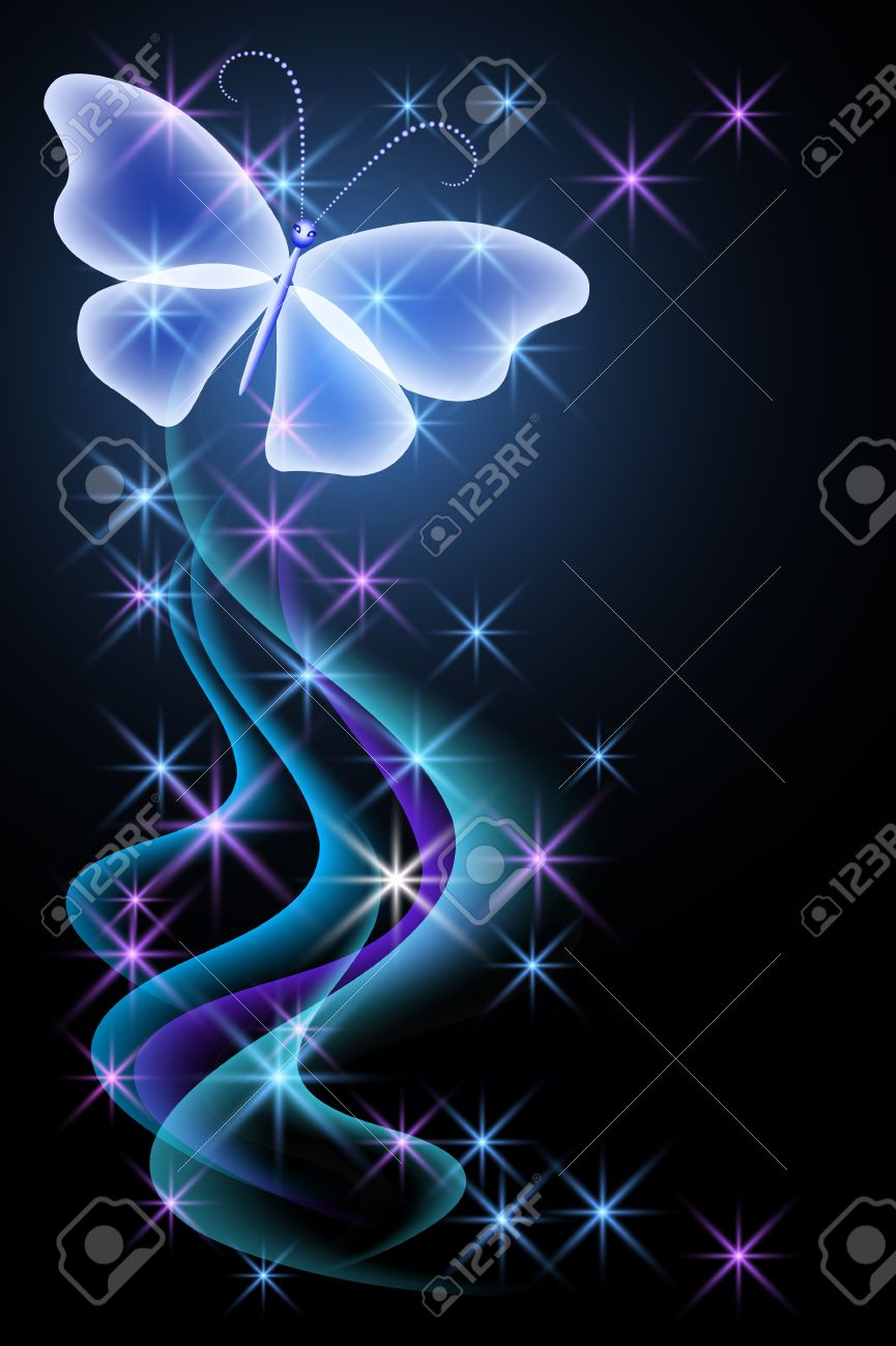 Glowing background with smoke and butterfly Stock Vector - 16438443