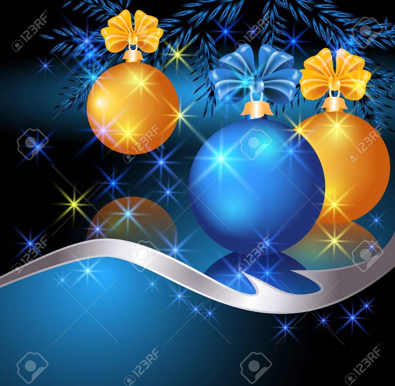 Christmas card with blue and yellow balls Stock Vector - 16519032