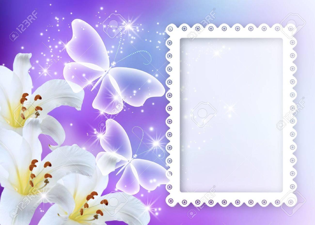 Lilien Blühen Mit Transparenten Schmetterlinge Und Bilderrahmen ...