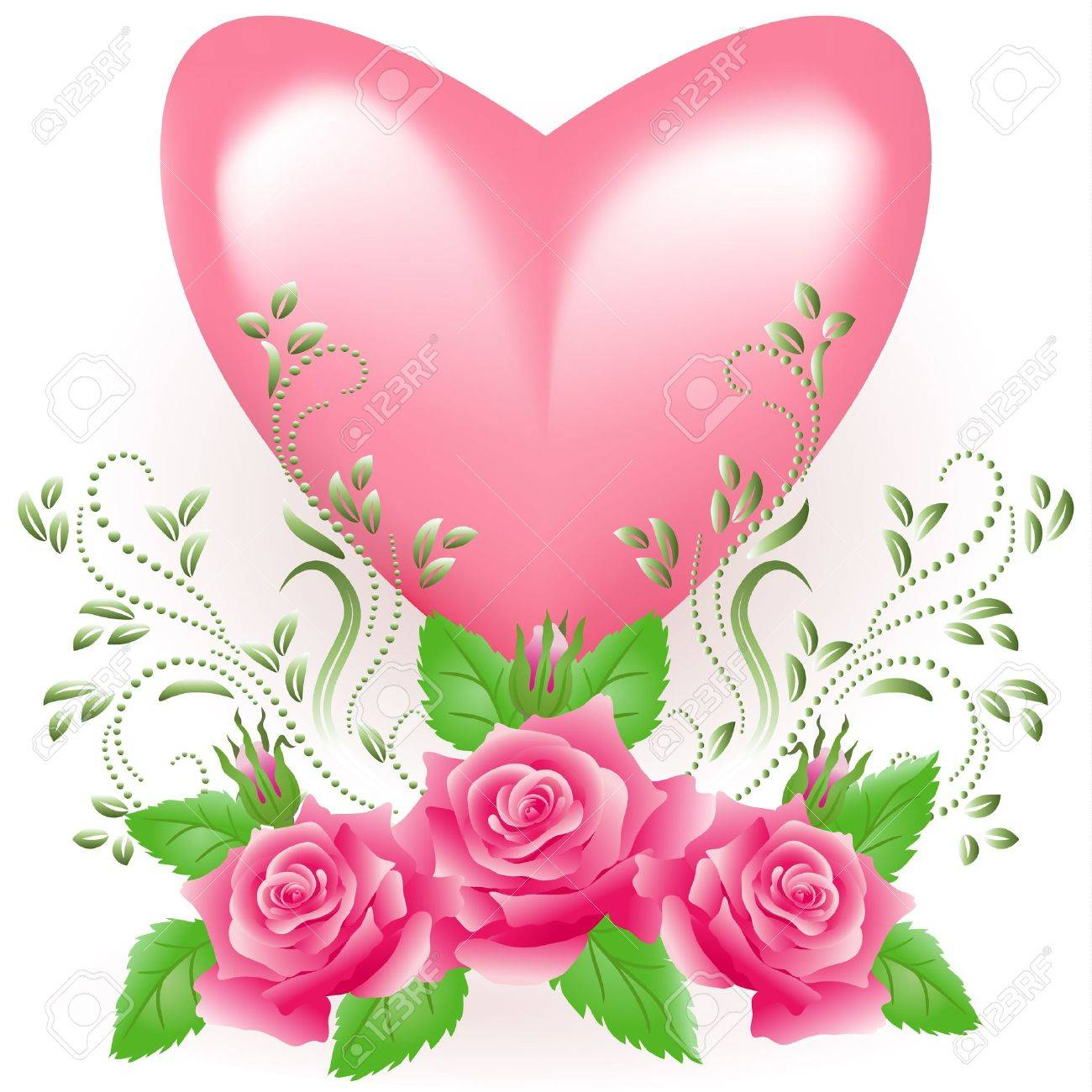 Pink heart with rose Stock Vector - 17417527
