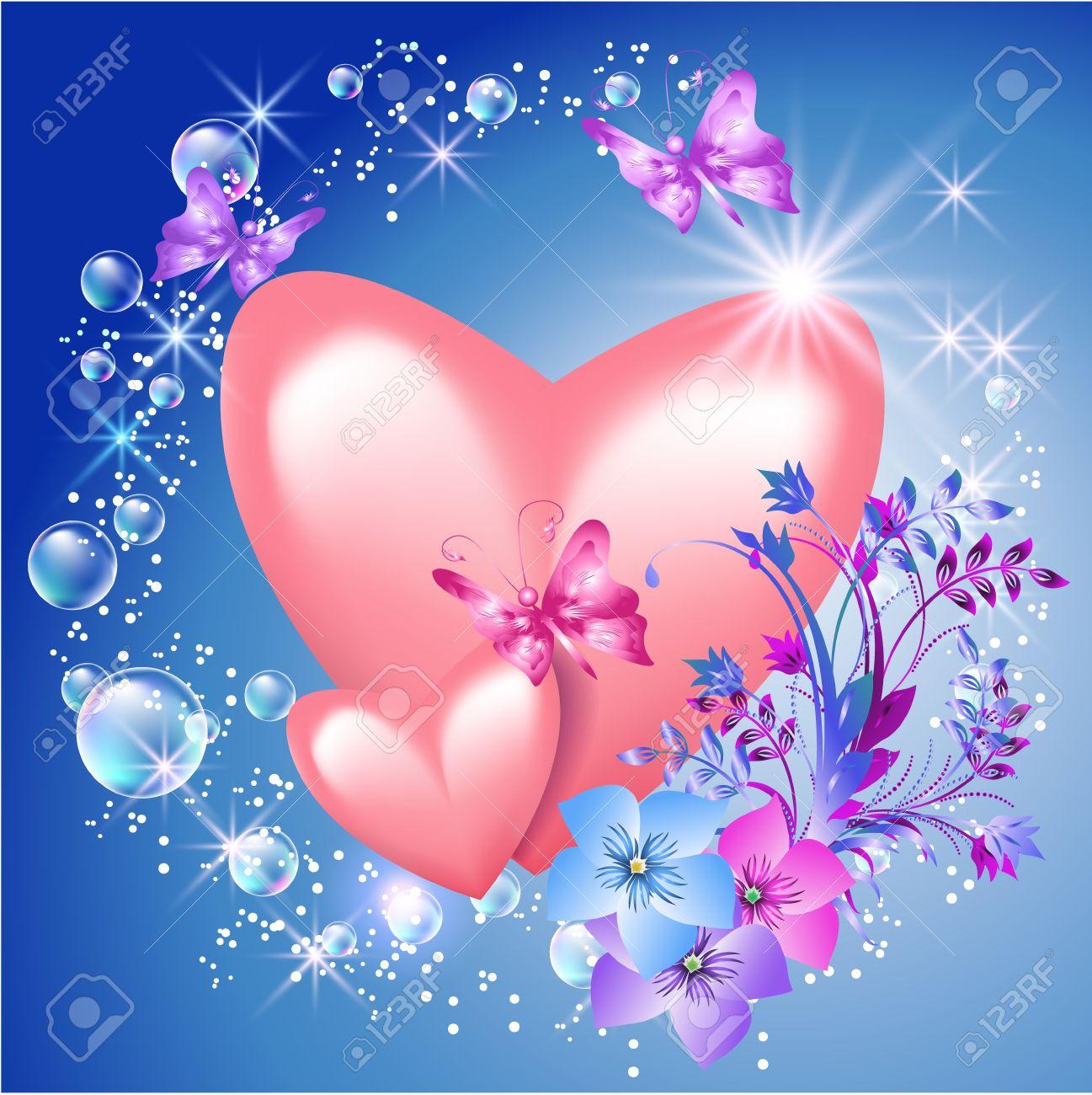17417726-Coeurs-roses-avec-des-fleurs-et-du-soleil-Banque-d%27images