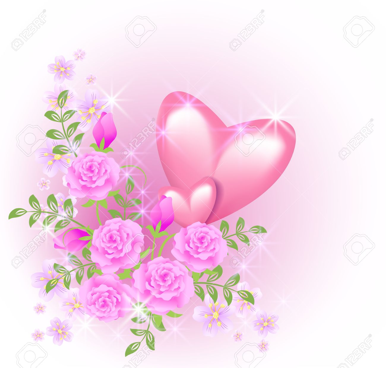 Roses pink and hearts video