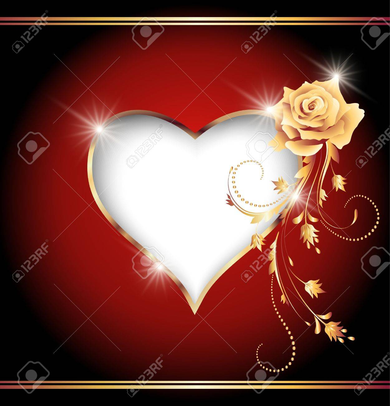 Golden Rose Heart Heart And Golden Rose