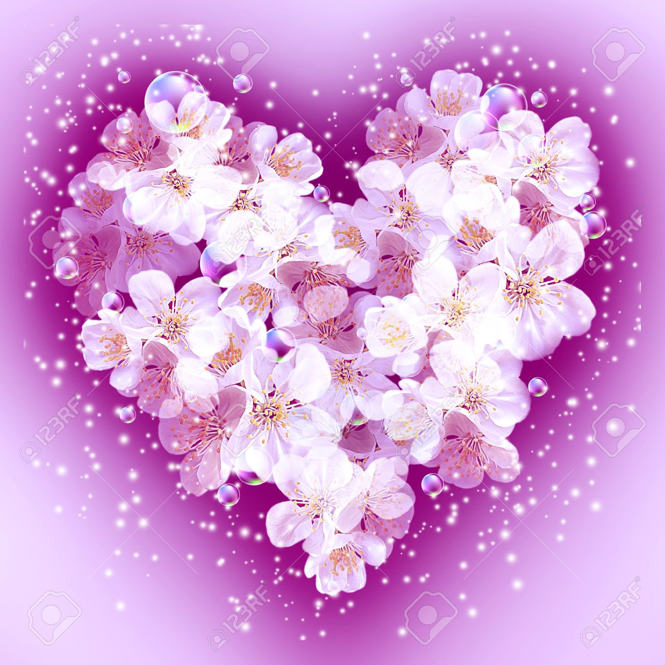 Card with bouquet flowers in heart shape and bubbles Stock Photo - 17539832