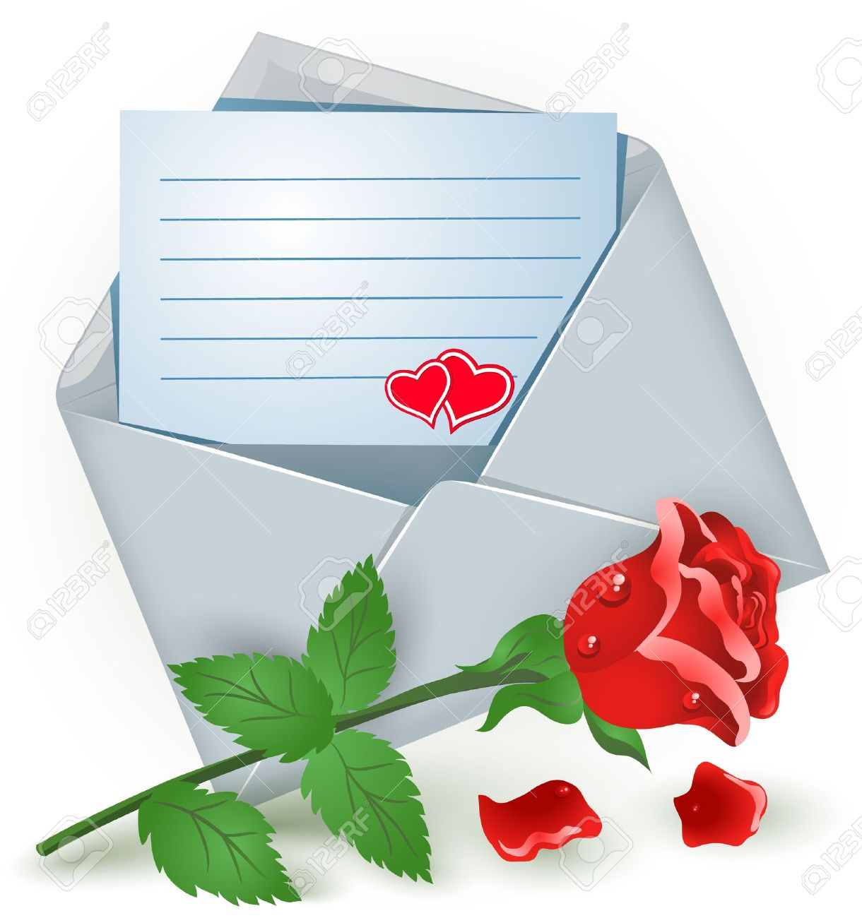 Open envelope with red rose Stock Vector - 17627474