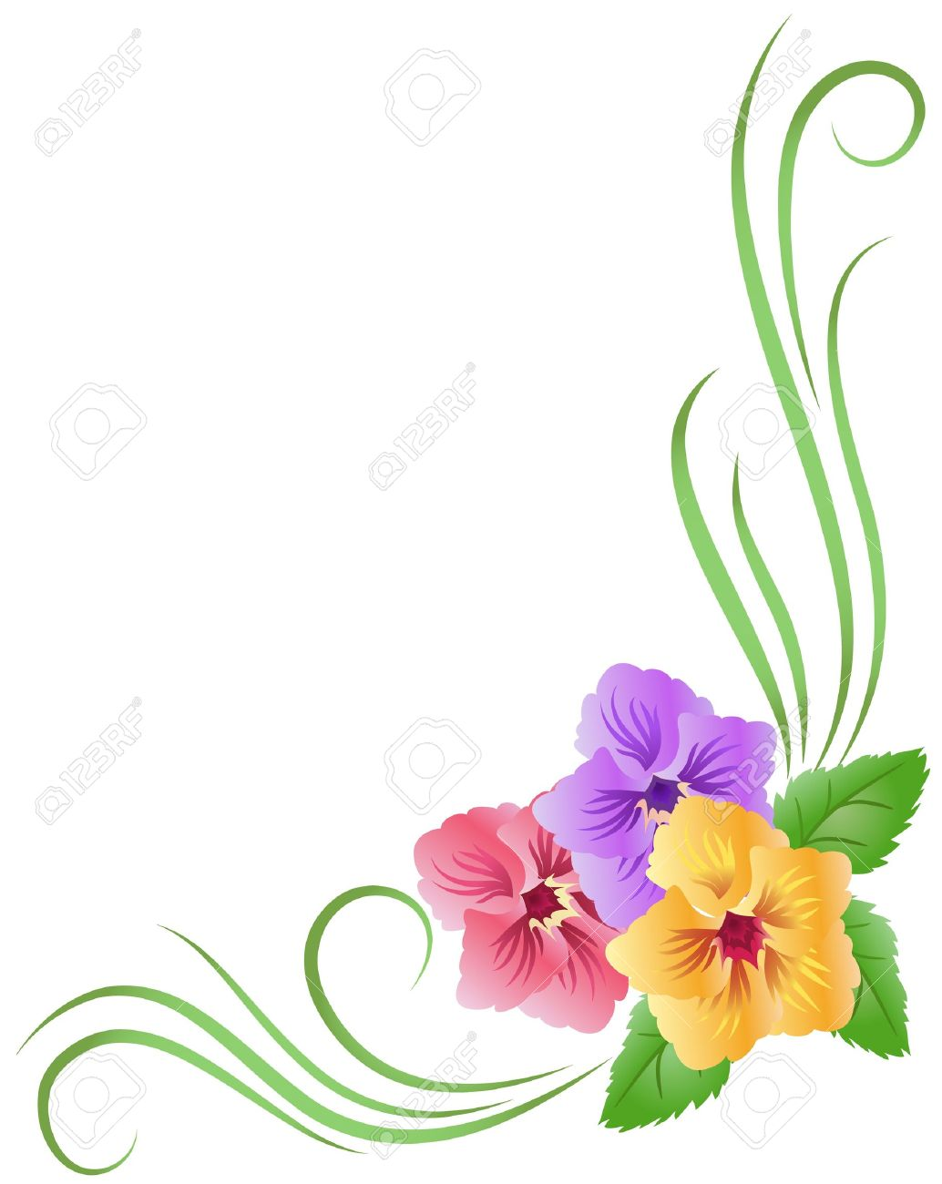 corner floral ornament with pansy royalty free cliparts vectors and stock illustration image 17927460 corner floral ornament with pansy