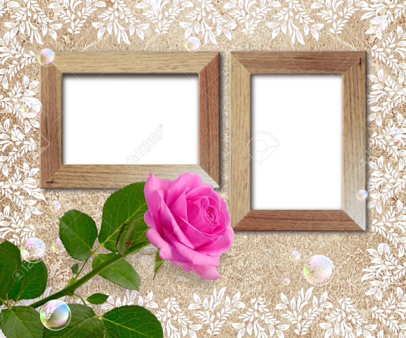 Old grunge background with rose and wooden frame Stock Photo - 17966532