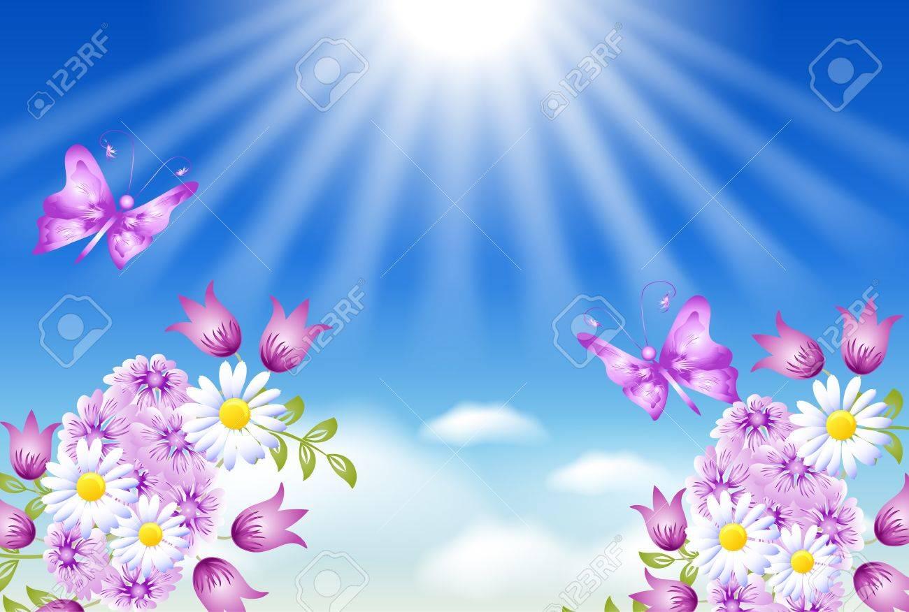 Flowers, butterflies and sun - 21881133