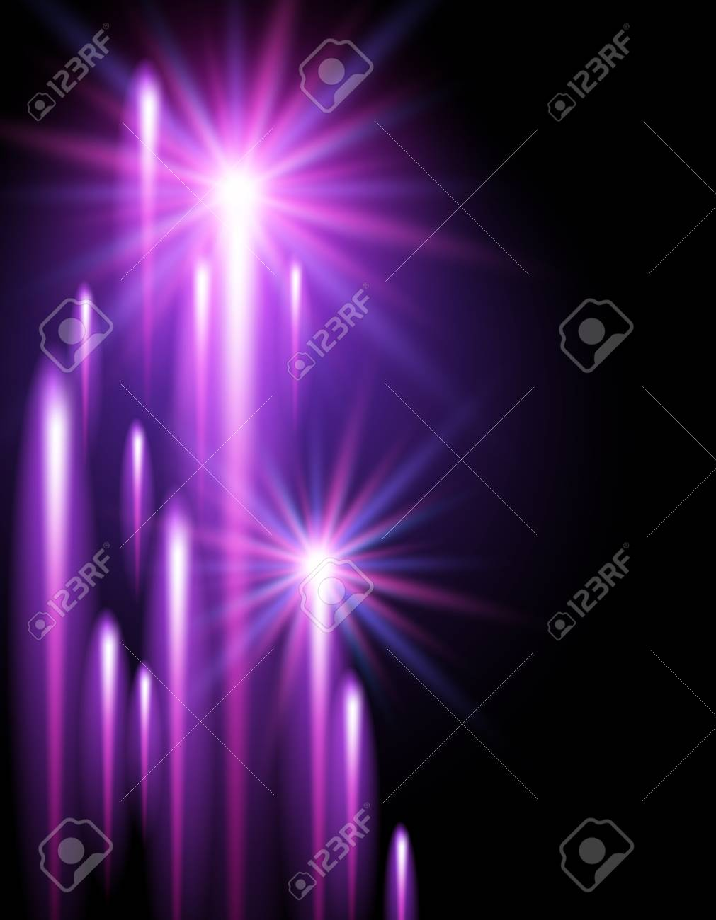 Glowing background with shining stars and neon strips Stock Vector - 21881693