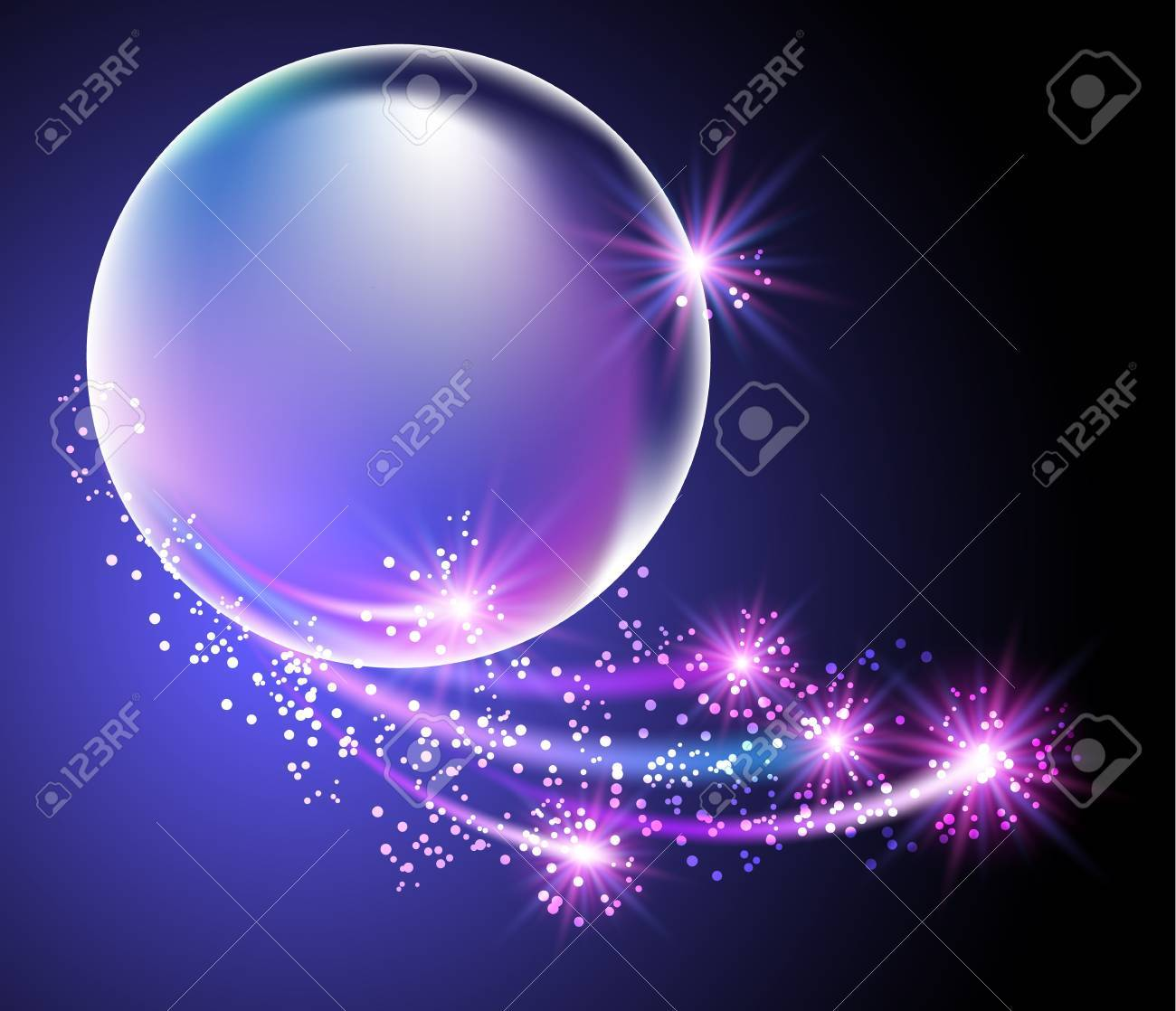 Glowing background with bubbles and stars Stock Vector - 22072436