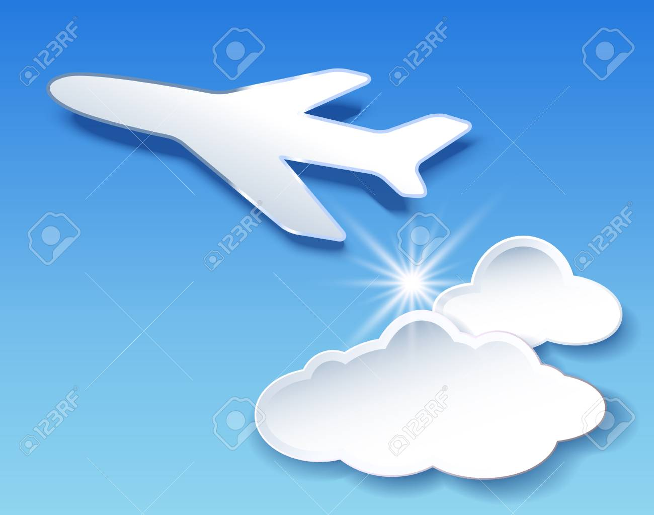 flyer template with airplane and clouds sky royalty free cliparts