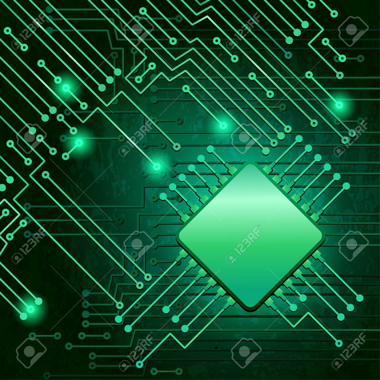 Circuito Electronico : Dibujo circuito electrónico moderno en fondo verde ilustraciones