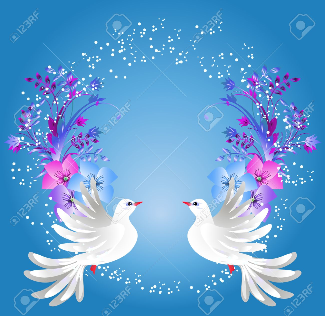 White dove ornament - Flying Two White Doves On Blue Background With Floral Ornament Stock Vector 35718514