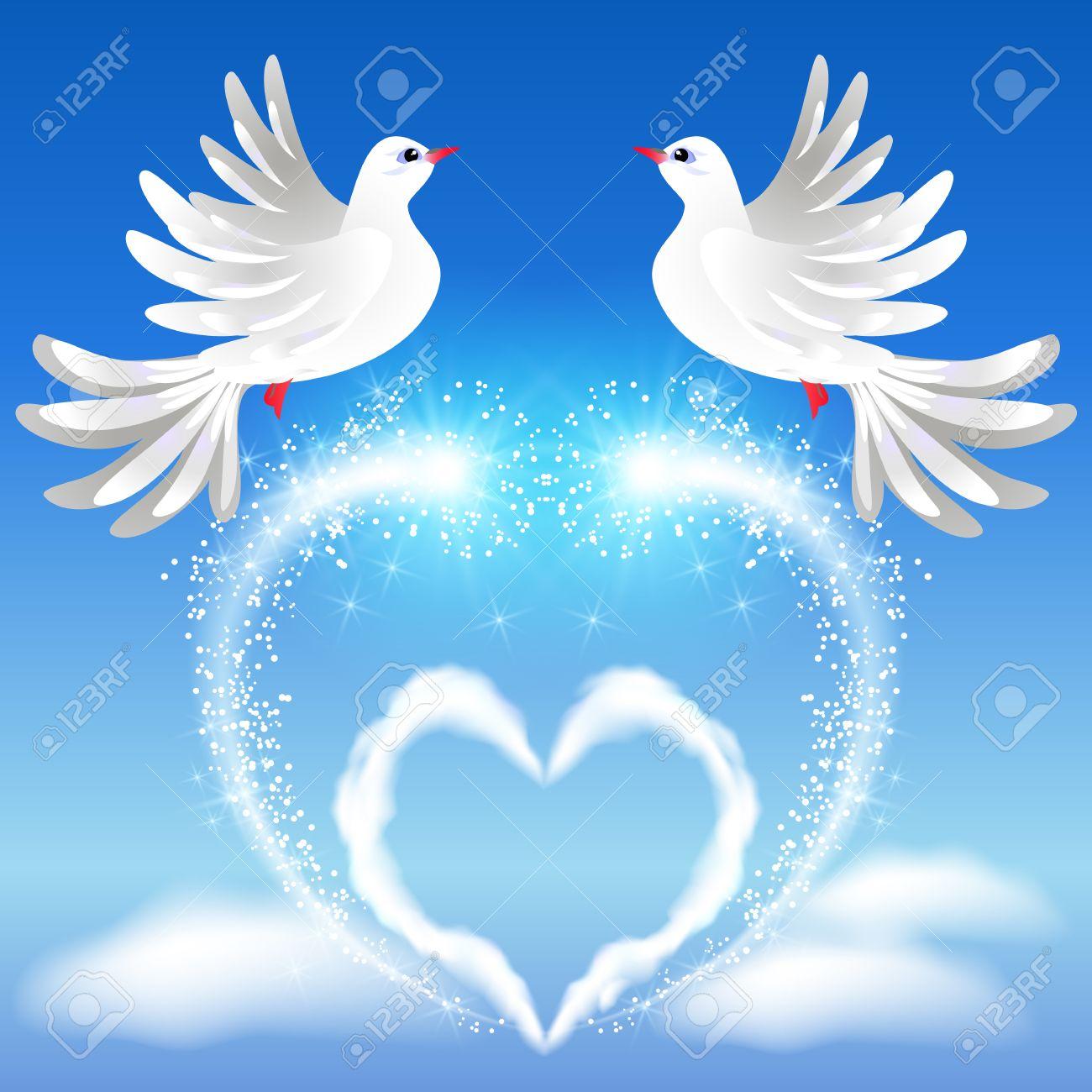 Volar Dos Palomas Blancas En El Cielo Y El Corazón Con Saludo