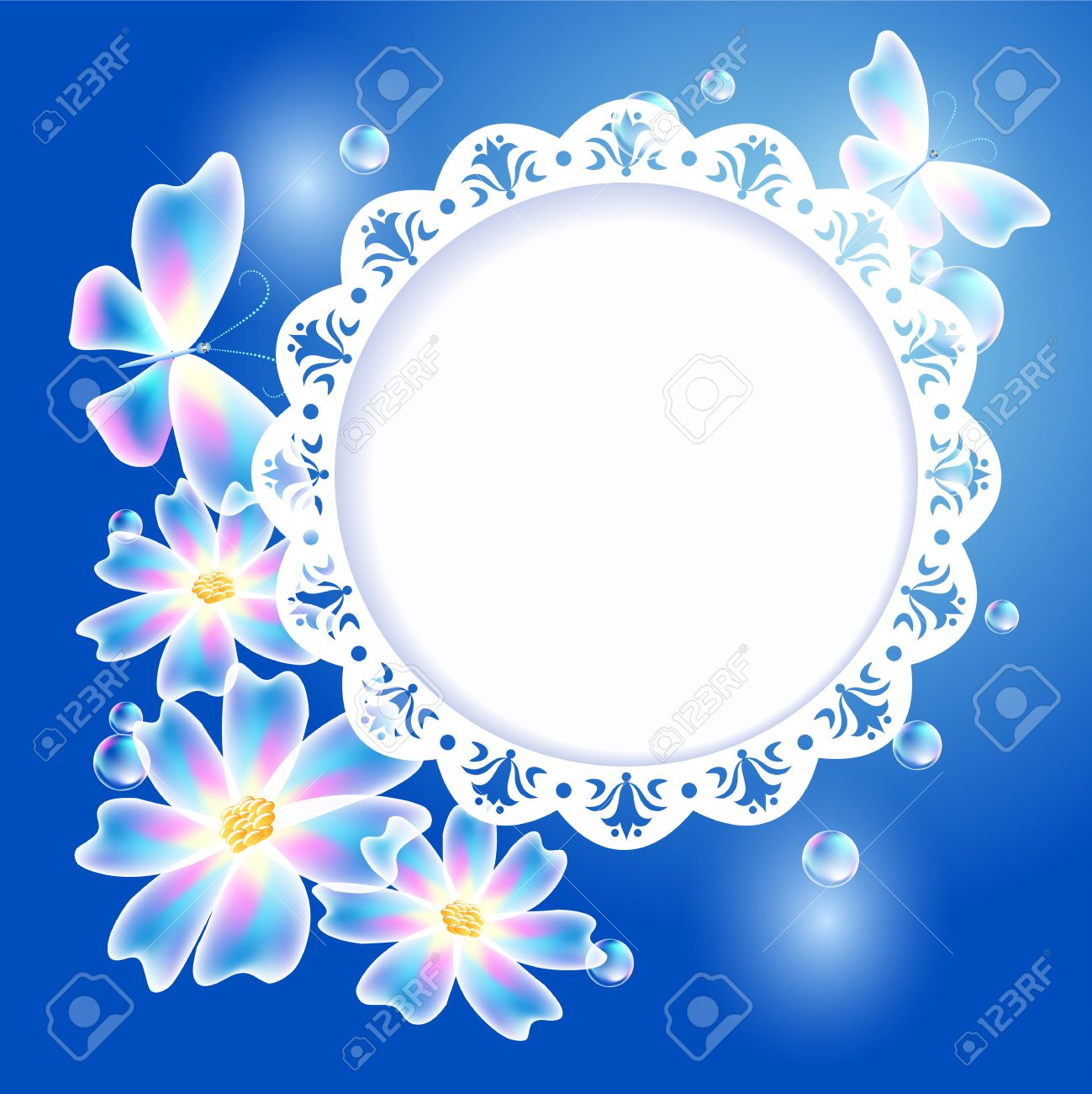 glowing blue background with transparent butterflies flowers