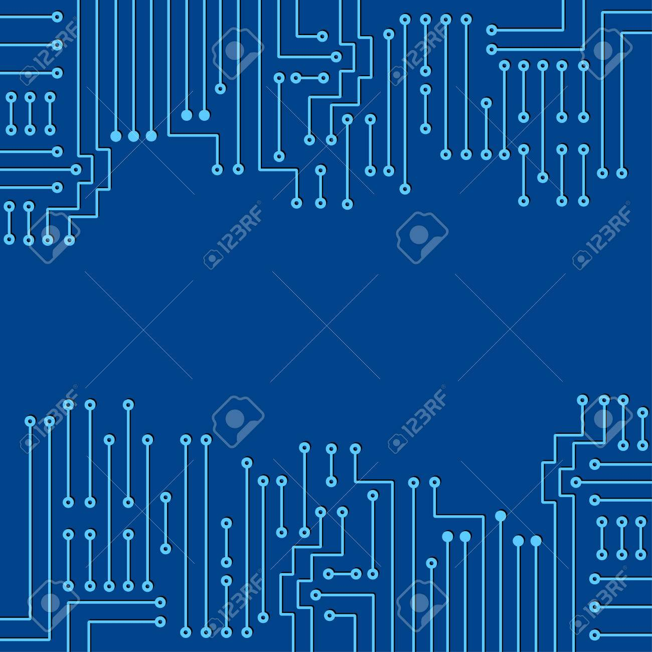 Drawing Modern Electronic Circuit On Blue Background Royalty Free ...