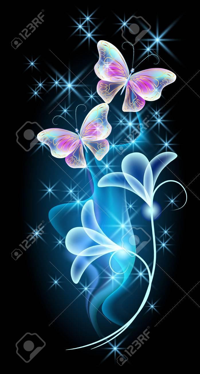 Papillons qui volent transparentes avec ornement d\u0027or, des fleurs et feu d\u0027