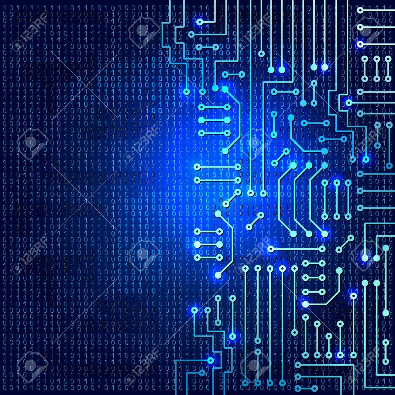 Circuito Electronico : Dibujo circuito electrónico moderno sobre fondo azul ilustraciones
