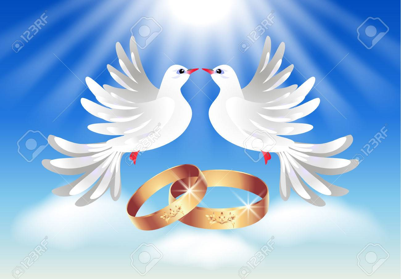 Card With Wedding Rings And Two Doves In The Sky Stock Vector