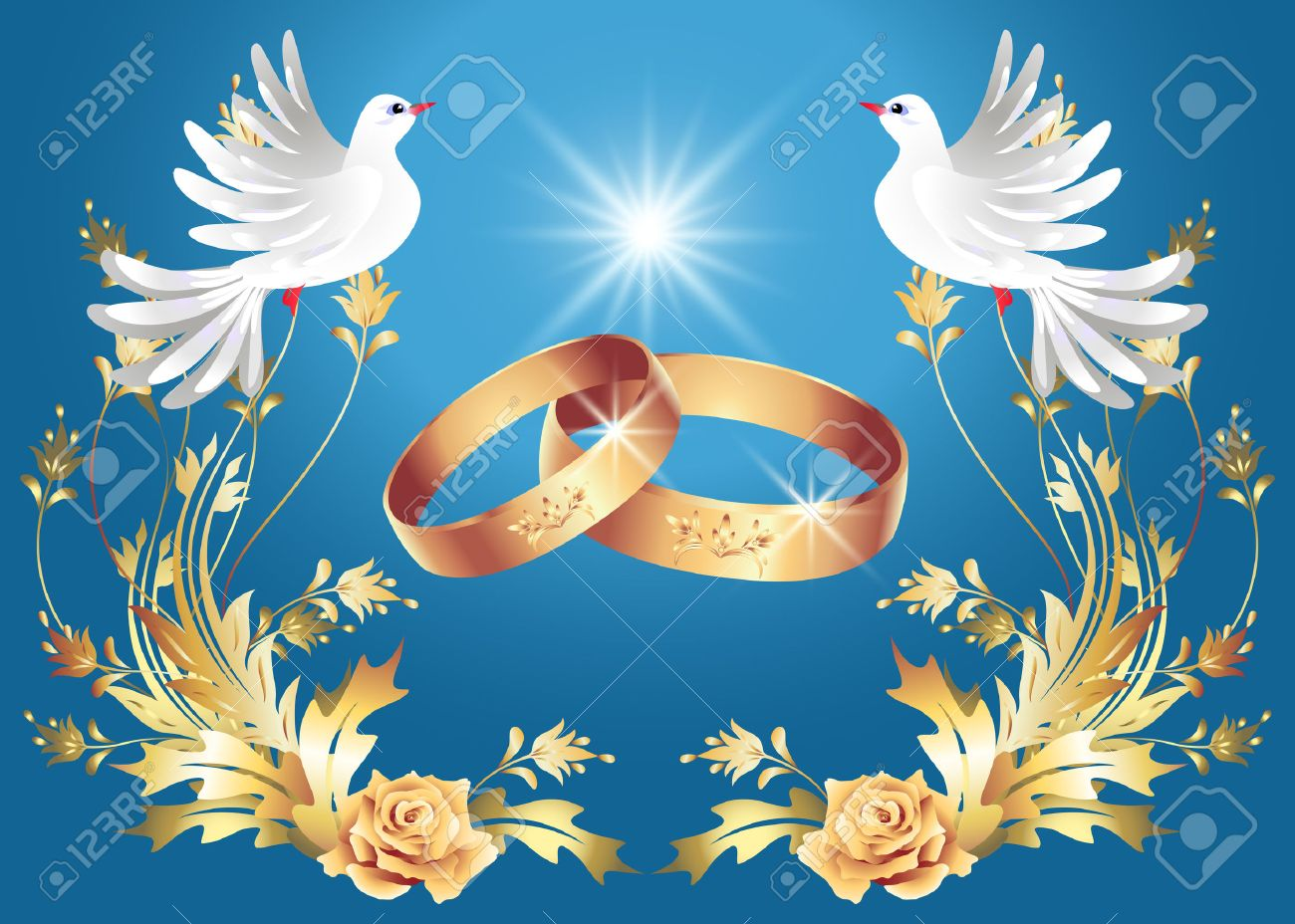 Card With Wedding Rings And Two Doves Stock Vector