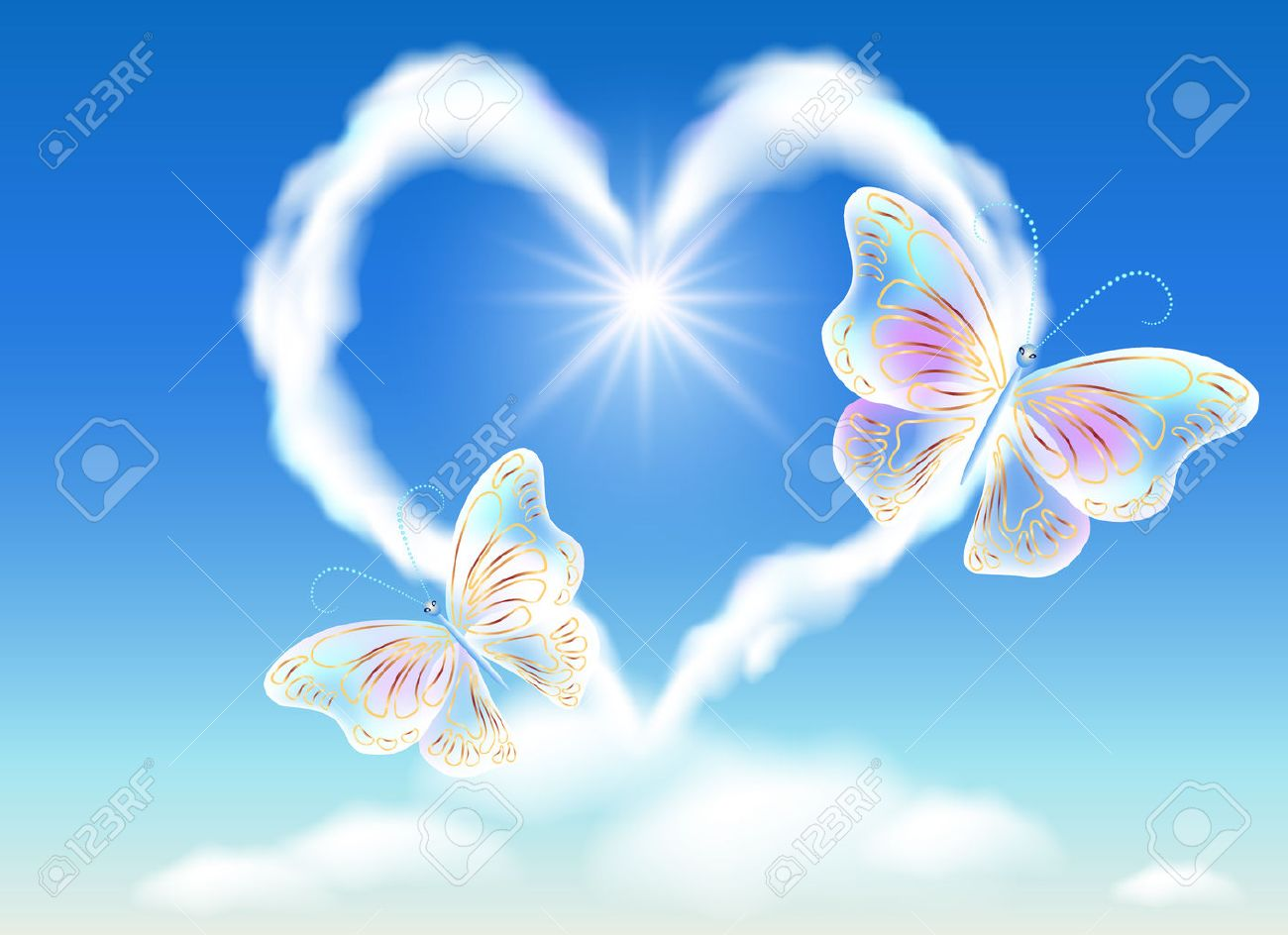 Cloud heart in the sky and transparent butterflies - 52480044