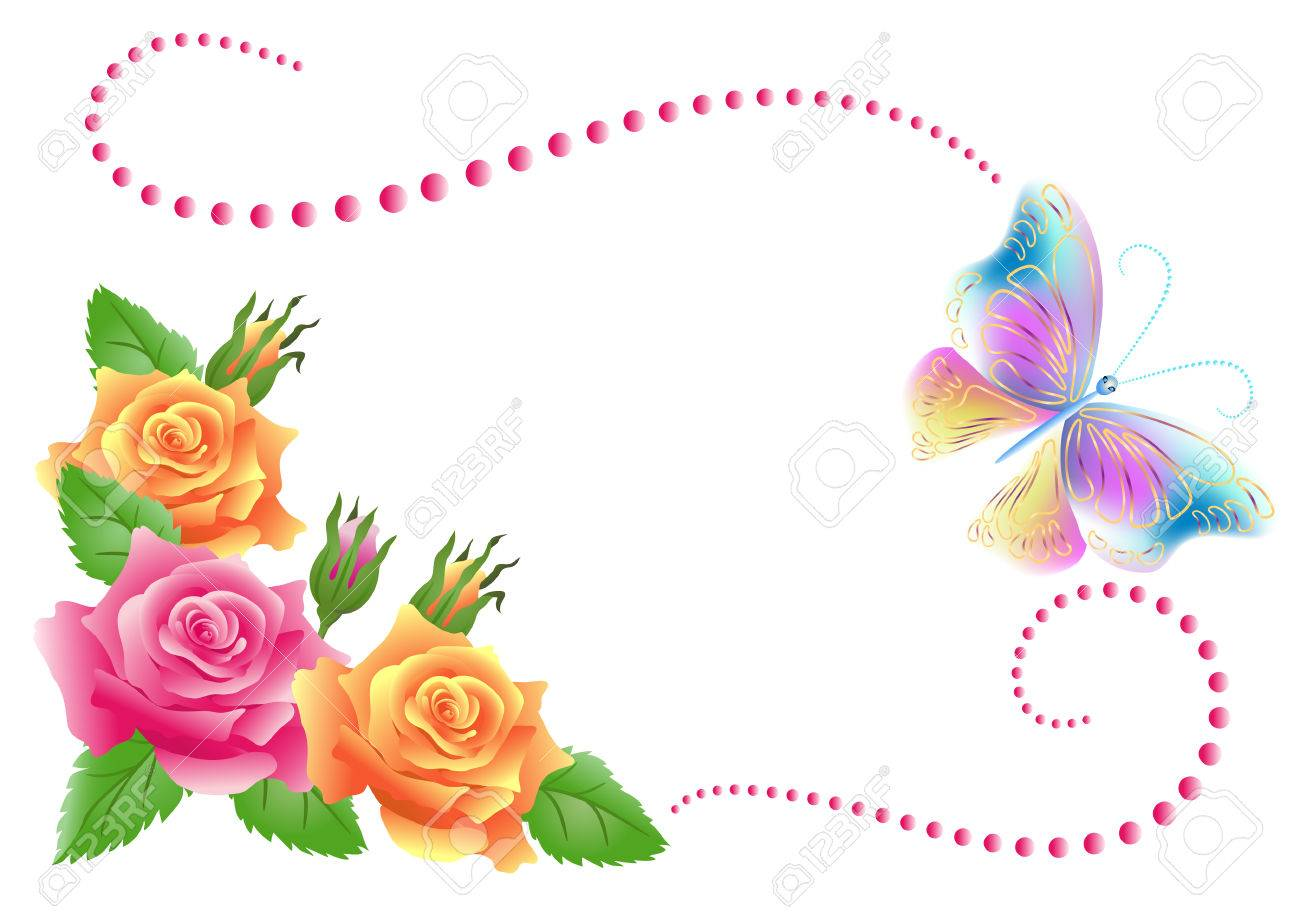 Flowers ornament and butterfly isolated on white background - 53235363